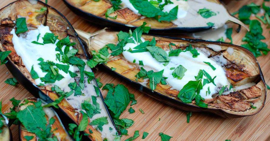 Bild: mentalLOVE Blogparade das beste Kochrezept zum Verlieben - Kontaktgrill - gegrillte Auberginen