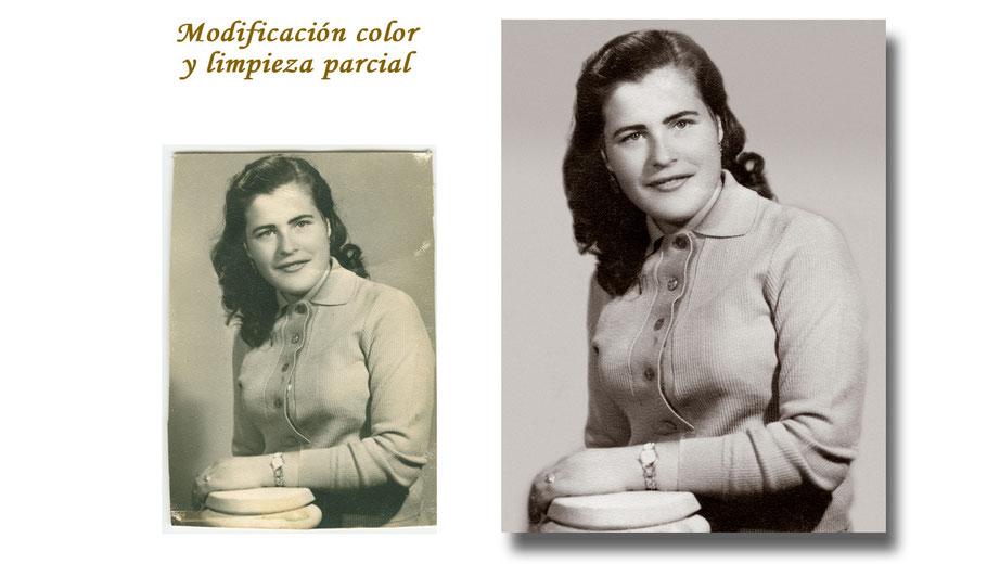RESTAURACIÓN FOTOGRÁFICA DIGITAL  (modificación de color y limpieza parcial)