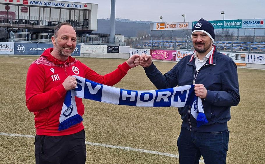 Trainer Alexander Schriebl, Geschäftsführer Andreas Zinkel (re.) / Bild: SV Horn