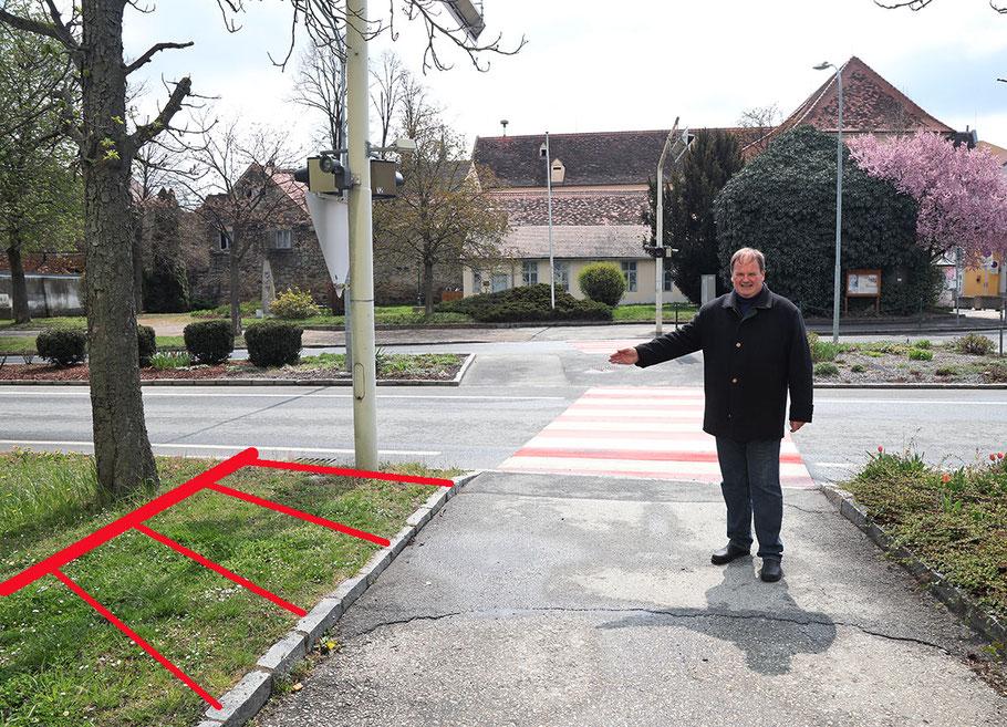 Hamerling-Straße: In der Straßenmitte ist der Fahrradstreifen – links vom Zebrastreifen - bereits baulich vorhanden, nun wird die Straßenlaterne versetzt und die rot markierte Fläche zur Fahrradfahrbahn umgebaut.