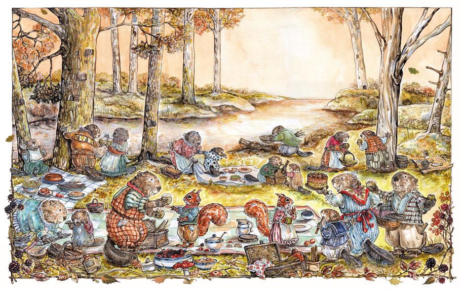 das Picknick der Biber Illustration Caroline Ronnefeldt