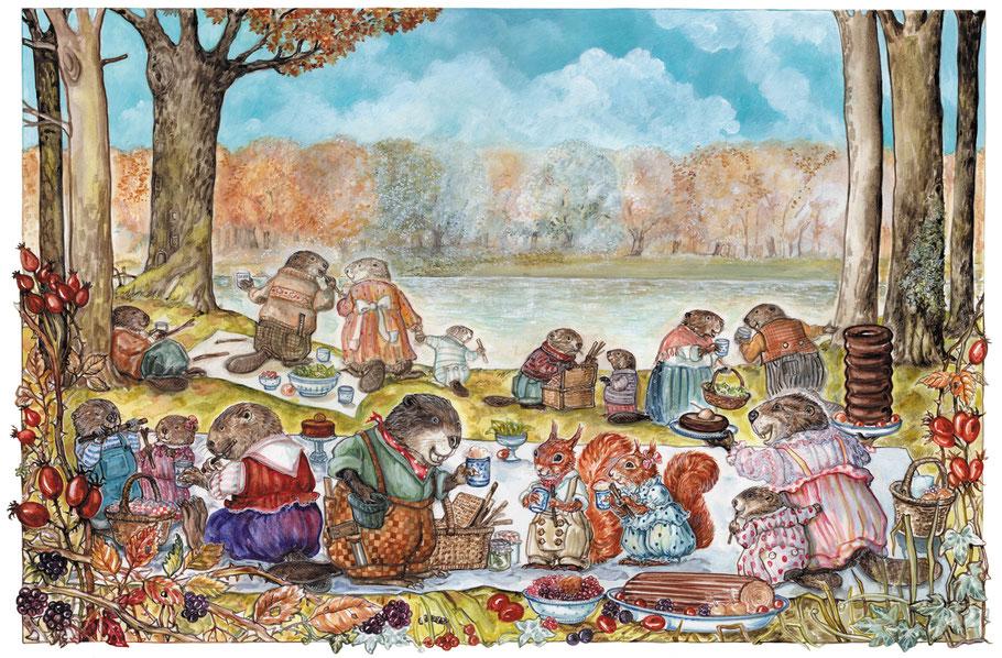 """Kinderbuchillustration """"Biber und Eichhörnchen -Picknick am Fluss"""" © Caroline Ronnefeldt"""