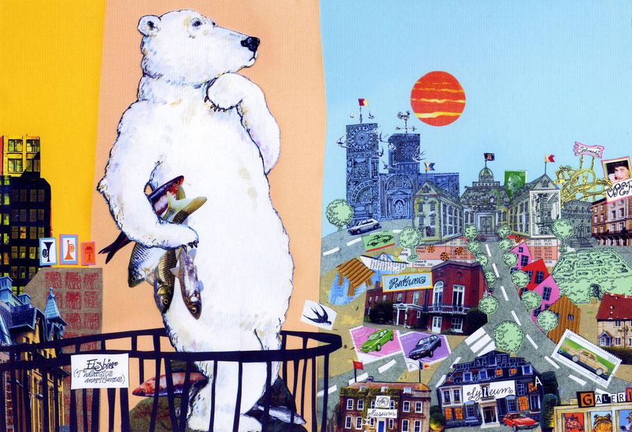 """""""Der Eisbär träumt"""" om Zoo, hoch über der Stadt Papiercollage © Caroline Ronnefeldt"""