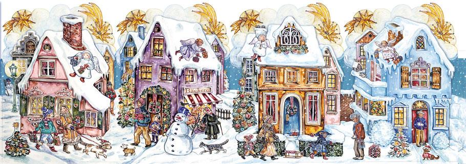 Adventskalender Teelichthaus Stadtpanorama Adventsstadt Engel Sternenhimmel Schneemann Gouache mit liebevollen Details Caroline Ronnefeldt