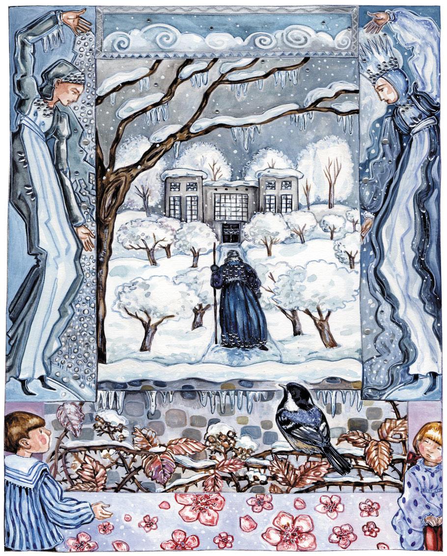 """Illustration zu Oscar Wilde """"Der eigensüchtige Riese"""" aus """"Hausbuch zur Weihnachtszeit"""" Anna Cavelius, ars Edition 2012"""