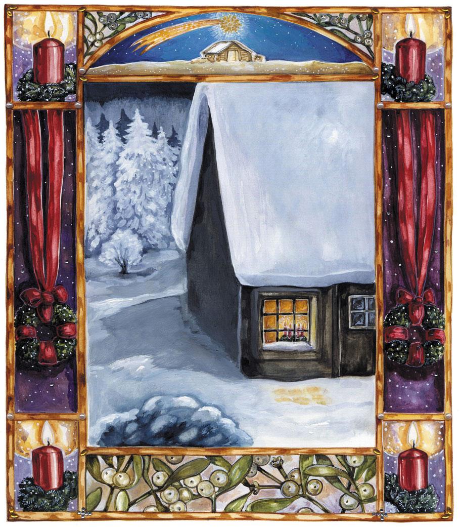 """Adventsbild """"Verschneites altes Haus""""  Illustration Caroline Ronnefeldt aus """"Hausbuch zur Weihnachtszeit"""" ars Edition 2012"""