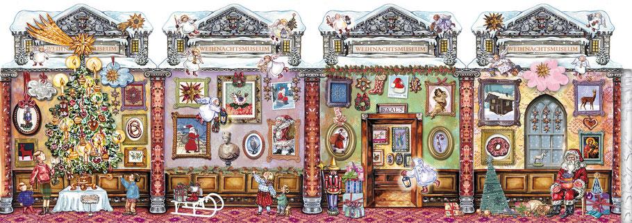 """Adventskalender Teelichthaus """"Das Weihnachtsmuseum"""" Collage mit Photoshop 24 Türchen liebevolle Details"""