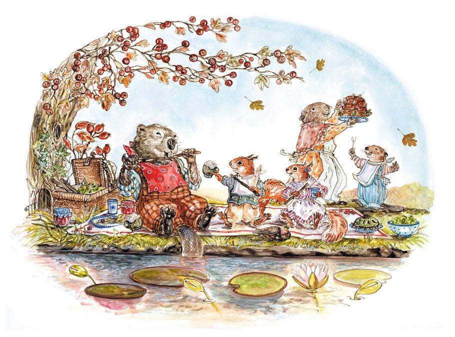 """Biber und Eichhörnchen beim Picknick Kinderbuchillustration aus """"Villa Eichblatt - Familie Eilig zieht um"""" Caroline Ronnefeldt, Annette Betz Verlag 2017"""