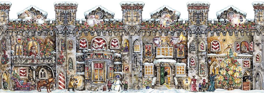 """Adventskalender Teelichthaus """"Adventsburg"""" mittelalterliche Burg mit 24 Türchen Gouache Wimmelbild mit liebevollen Details Caroline Ronnefeldt"""