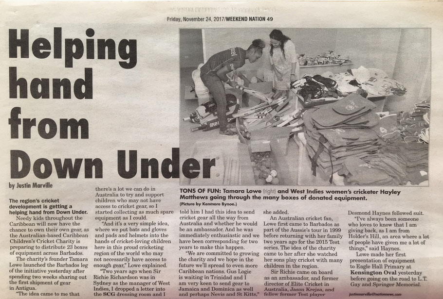 Barbados Nation article about the inaugural Children's Cricket Charity visit to deliver cricket goodwill to Barbados.