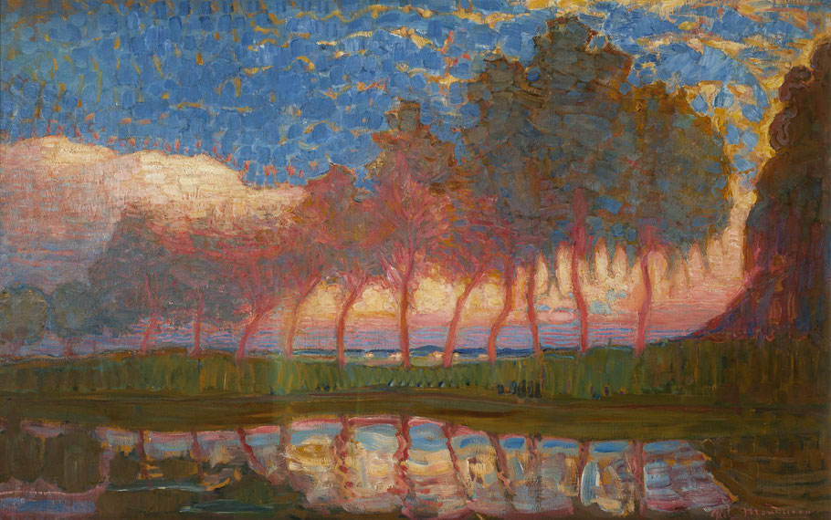 Piet Mondrian_Row of Eleven Poplars ini Red, Yellow, Blue and Green