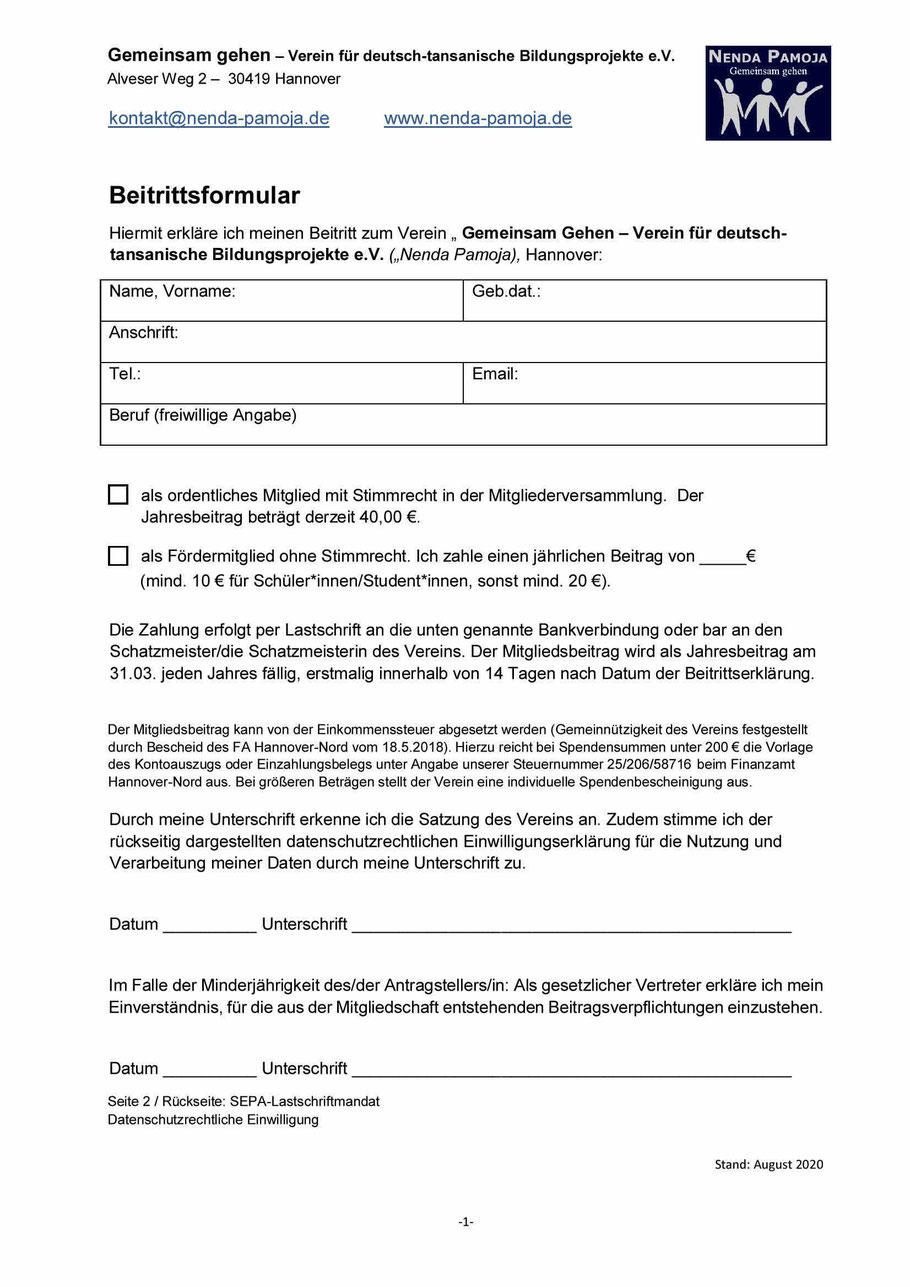 Mitglied Werden Nenda Pamoja Gemeinsam Gehen Verein Für Deutsch