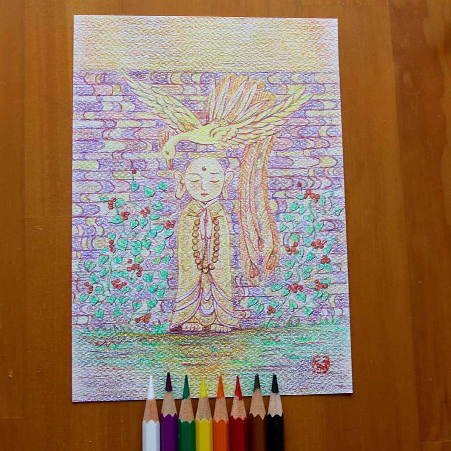 豊受「心に栄養」ぬり絵メニューで描きました。(川口悟)