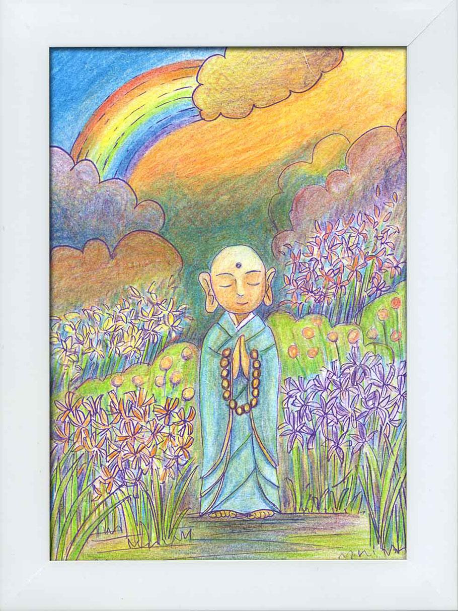 私・川口悟の「虹耀地蔵」ぬり絵作品。