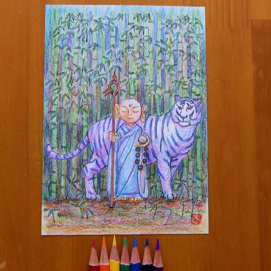 チャクラのぬり絵メニューで描きました。(川口悟)
