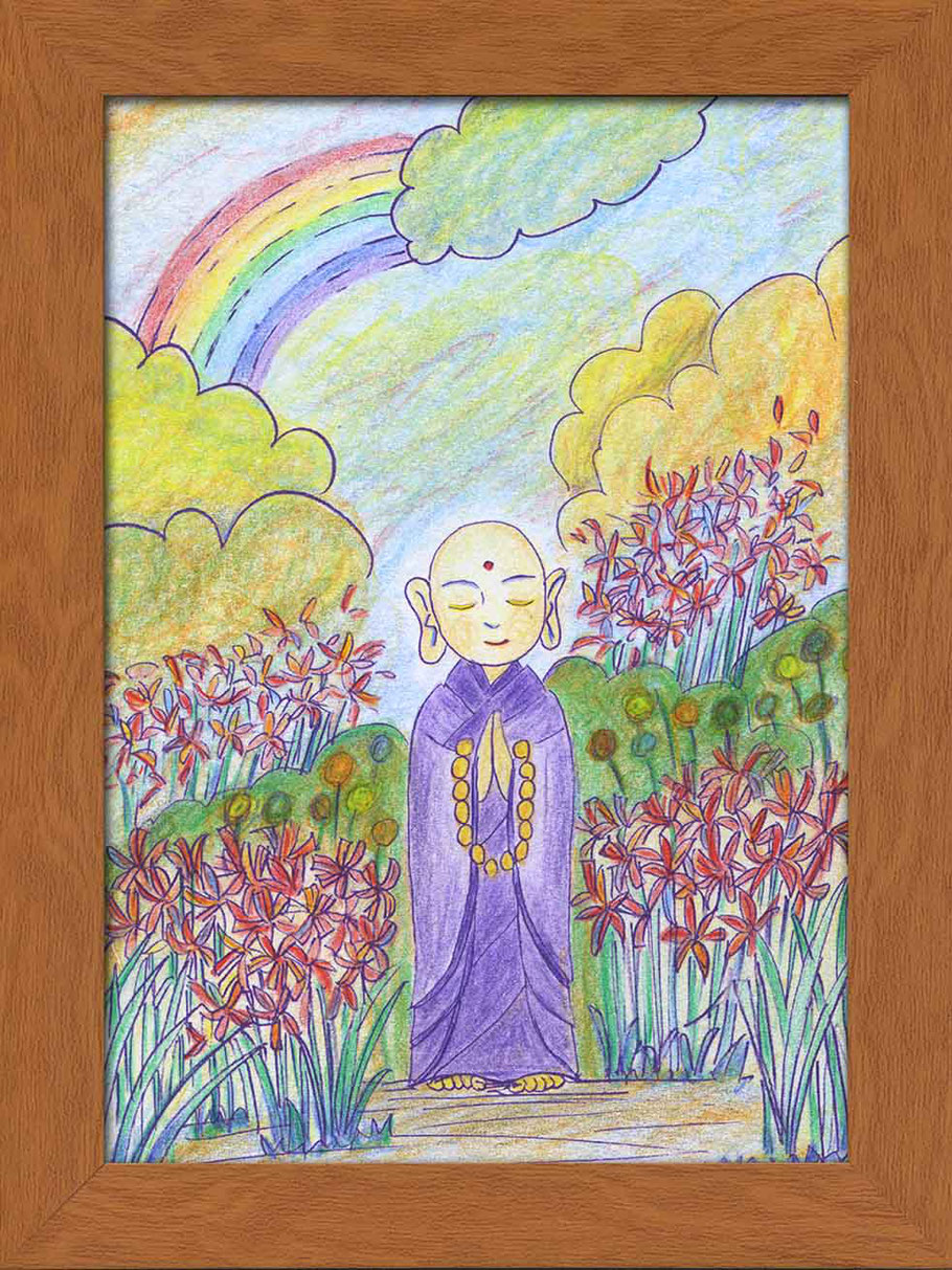 伊藤恵美子さんの「虹耀地蔵」ぬり絵作品。