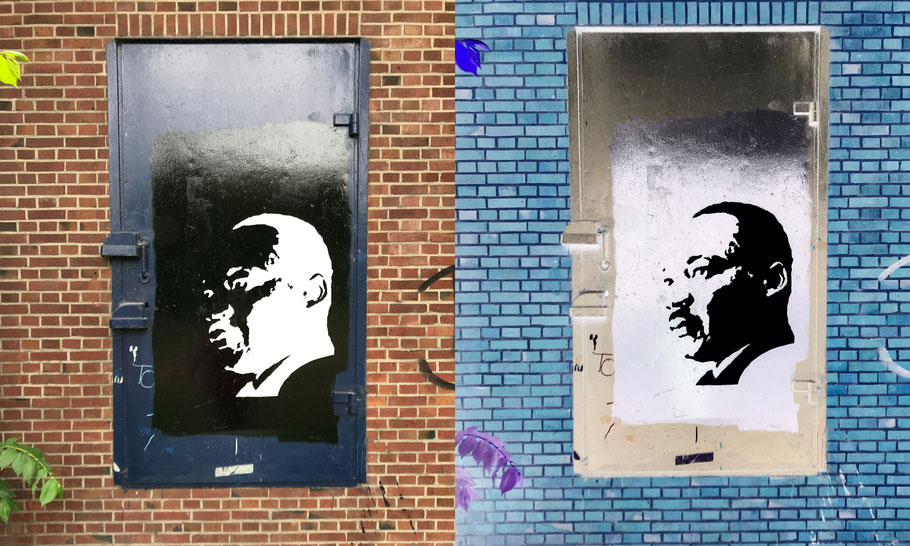 Great piece of Dr. King on the foot of the Utrechtsebrug by unknown artist (on the right: inversed colors).