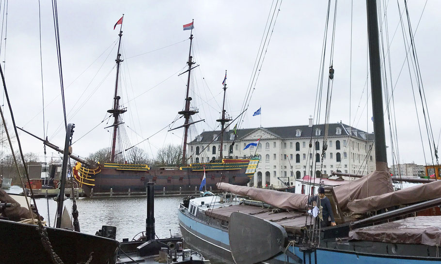 From the Museum Harbour you see the replica of VOC ship Amsterdam at Scheepvaartmuseum