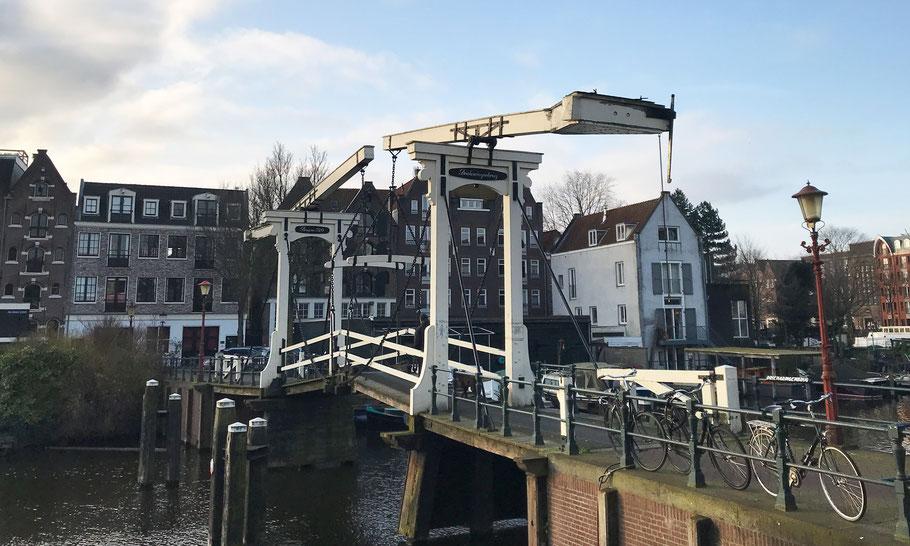 Drieharingenbrug at Realeneiland. Bridge number 320 of the more than 1900 bridges in Amsterdam.