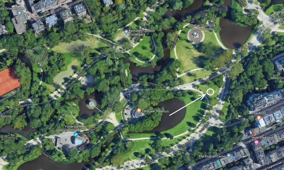 Exact location of the Mama Baranka statue in Vondelpark