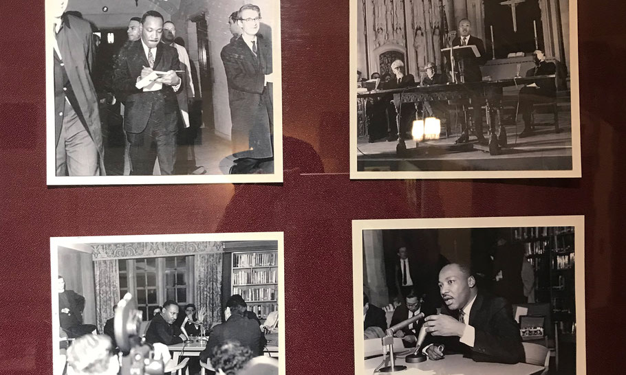 Pictures of Reverend King on the memorial wall