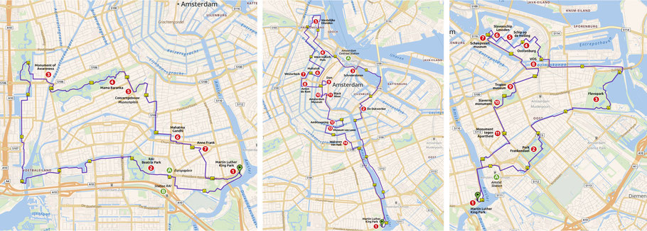 3 van de 5 routes: Wandeling West, Centrum en Oost