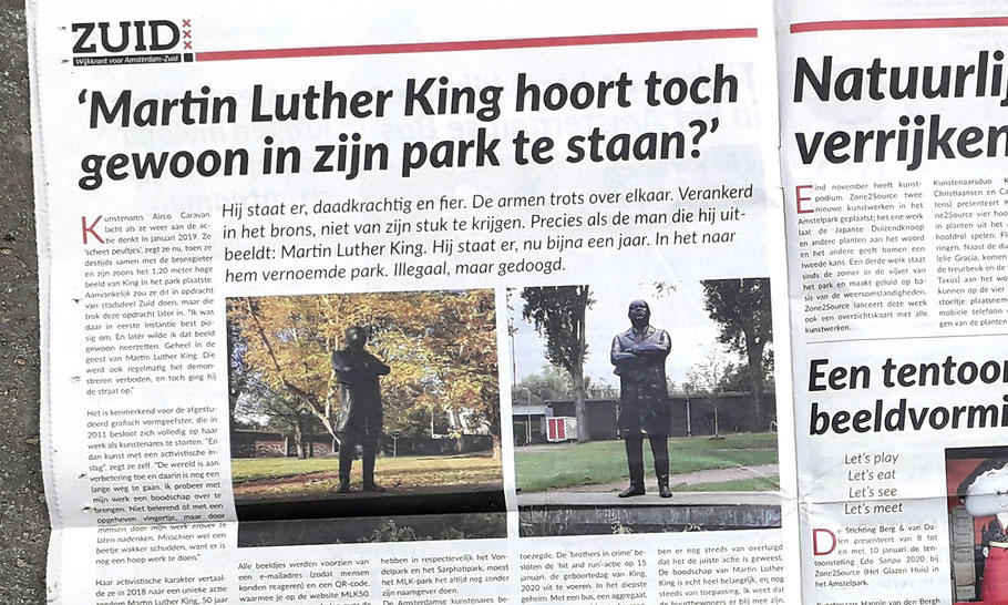 ZUID, local newspaper for Amsterdam South, full page article, January 2021 issue.