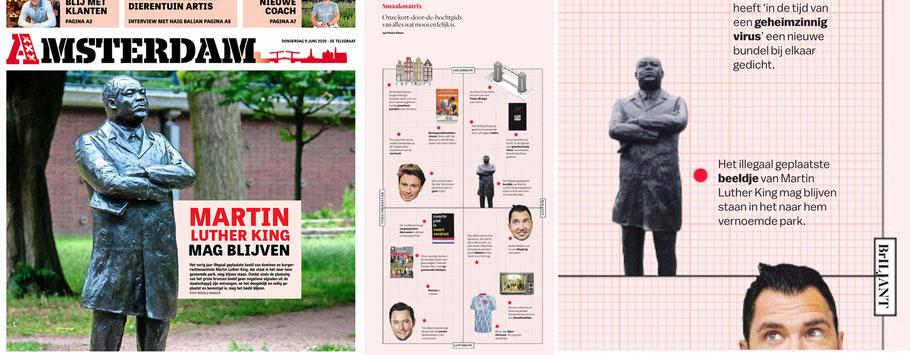 Links: Voorpagina de Telegraaf, Amsterdam 11-6-2020 en Het Parool, de Smaakmatrix, 13-6-2020