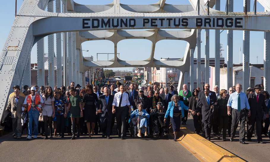 John Lewis, the Obamas and the Bushes cross the bridge, March 7, 2015, the 50th anniversary of Bloody Sunday.