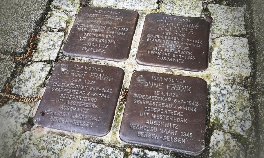 Merwedeplein 37-II: Stolpersteine to remember Anne Frank's family, by Gunter Demnig (2015)