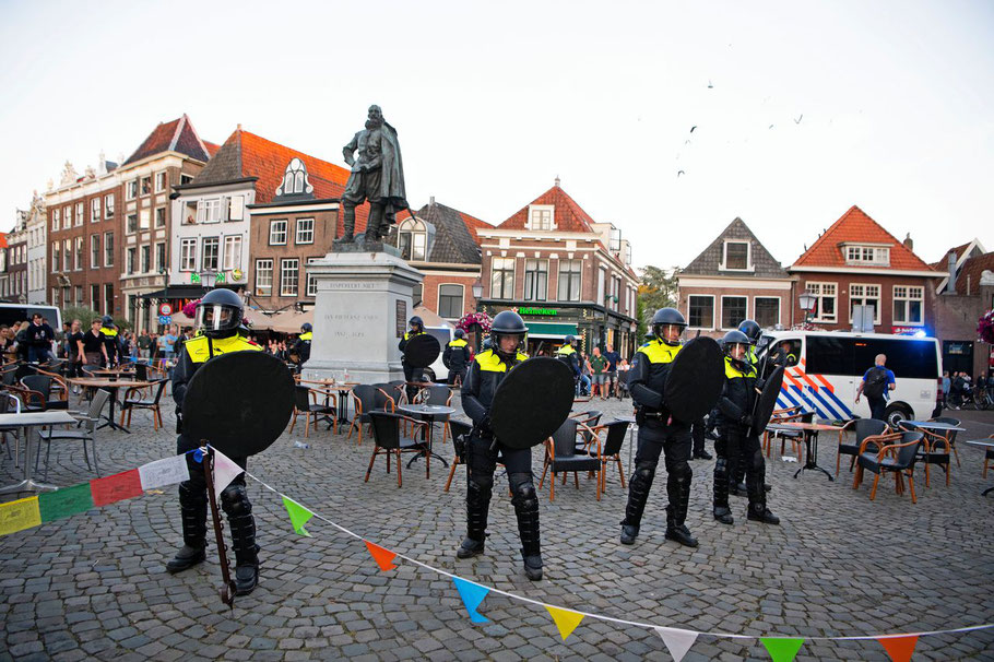 Peaceful protest against the JP Coen statue in Hoorn, June 19, 2020, where hooligans started a riot