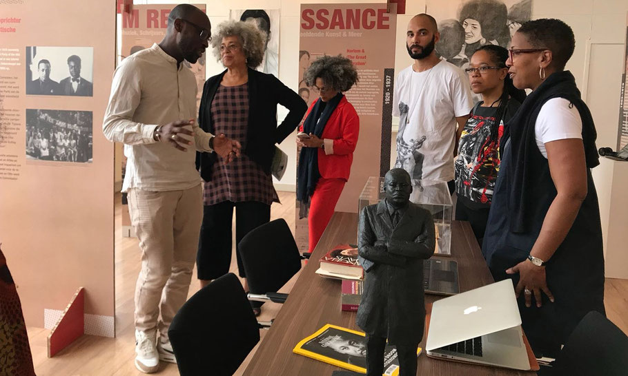 Angela Davis and Gina Dent visiting the exhibition Black and Revolutionary at the Black Archives, May 2018