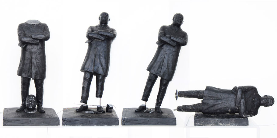 4 out of 8 broken statues, vandalized by strangers