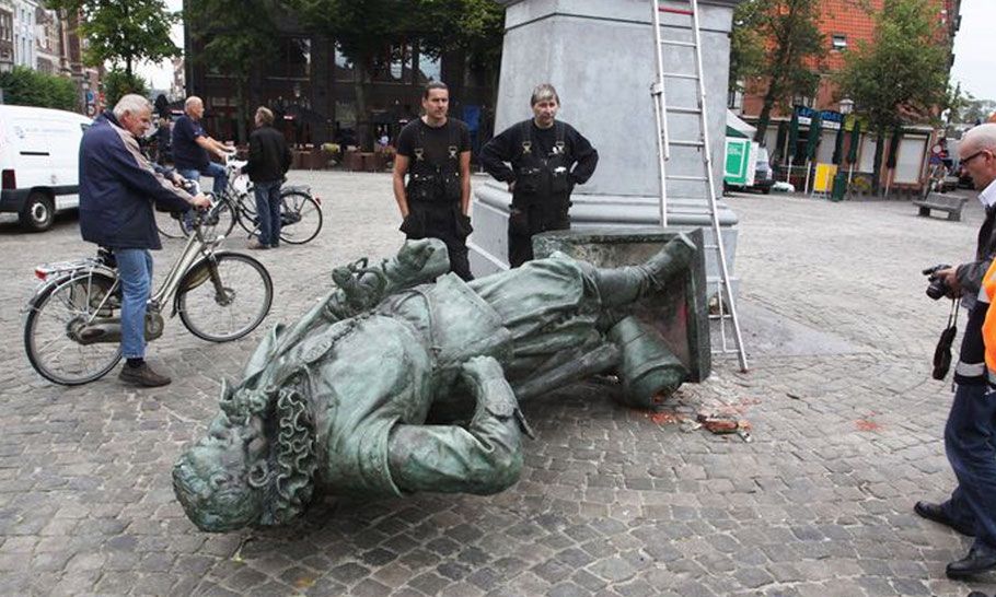 In 2011 the statue was toppled by a crane. They should have left him there.