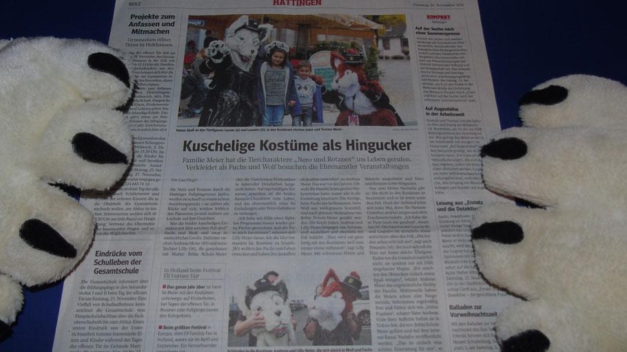 """ALT:""""Nero und Rotanes die Ruhrpottfurries in der Zeitung Waz Der Westen, Zeitungsartikel Hattingen Kuschelige Kostüme als Hingucker"""""""