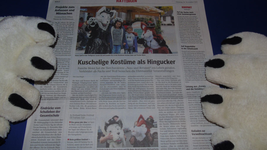 """ALT:""""Nero und Rotanes in der Waz Der Westen, Zeitungsartikel Hattingen Kuschelige Kostüme als Hingucker"""""""
