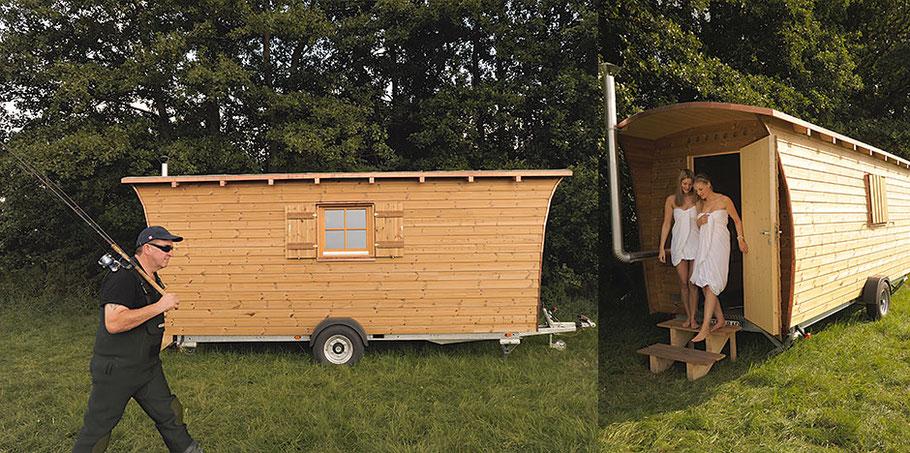 Das Tannhäuschen kann als Jagdhütte, Saunahütte oder Arbeiterunterkunft genutzt werden