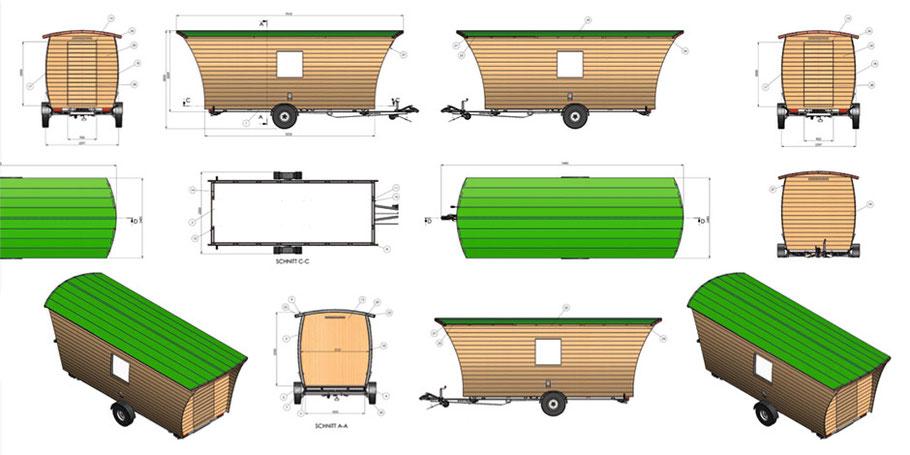 Aufbau der mobilen Naturholz-Hütte