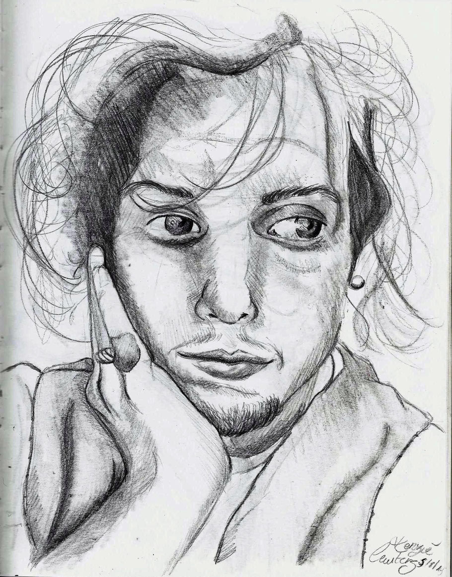 zelfportret 29.7x21cm potlood tekening
