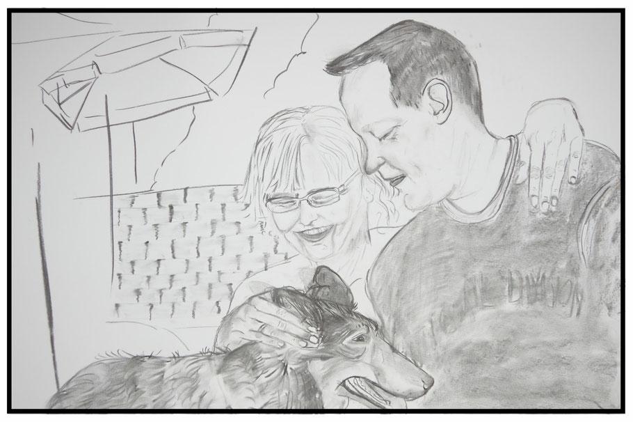 Ein Bild für Fabs & Dani , RIP NINI, Kohle auf Papier, 70x100cm, 2016