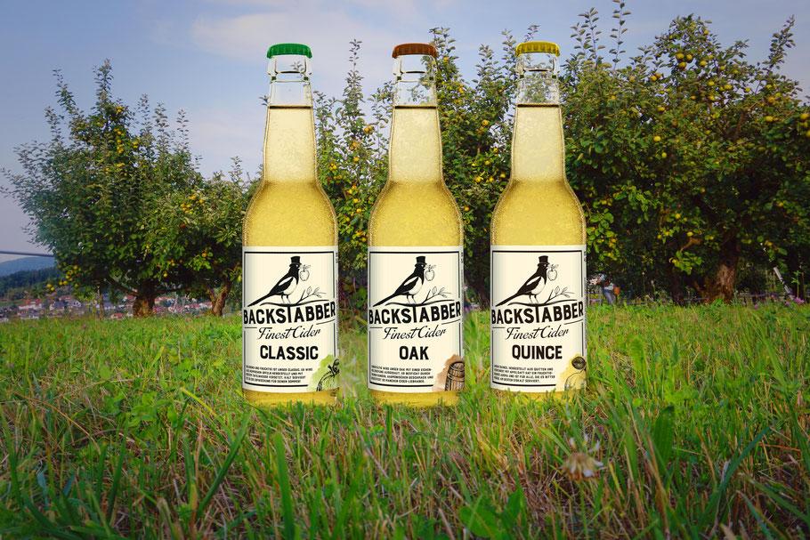 Cider Award 2020 Gold winner Backstabber Classic and Cider Award 2020 silver winner Backstabber Oak, Most aus der Schweiz, Switzerland