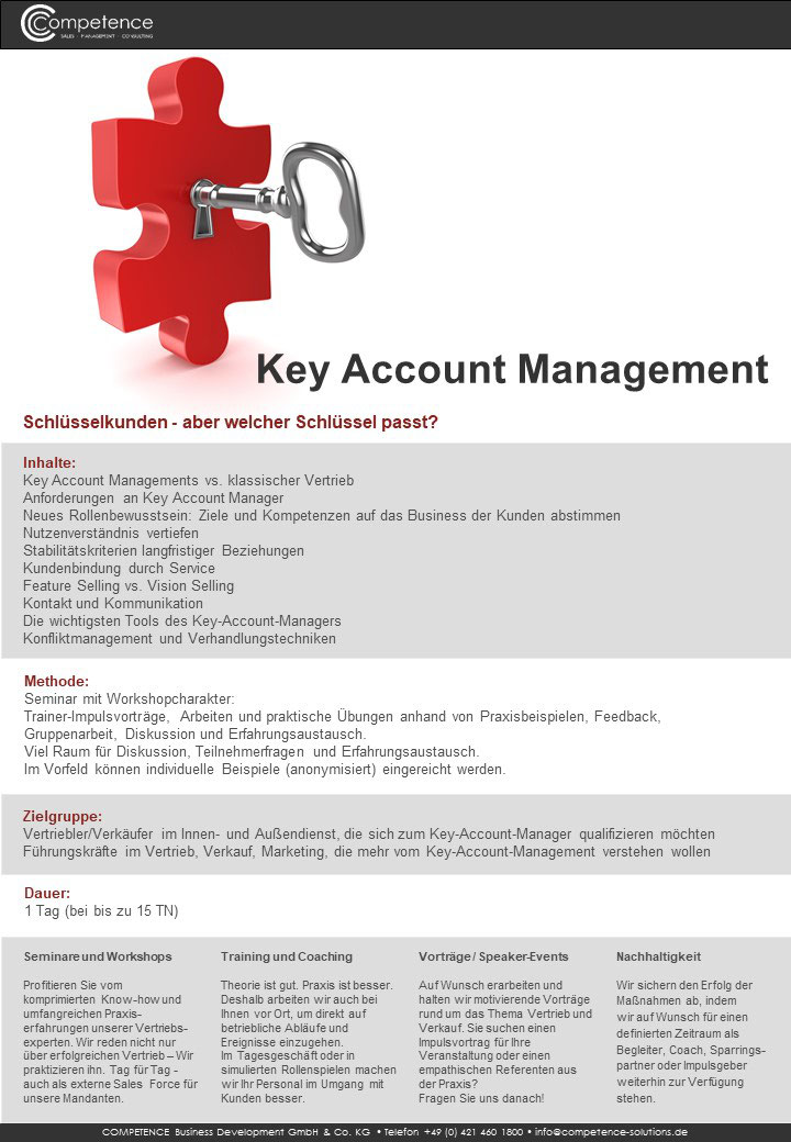 Seminar Key account Management schlüsslekunden