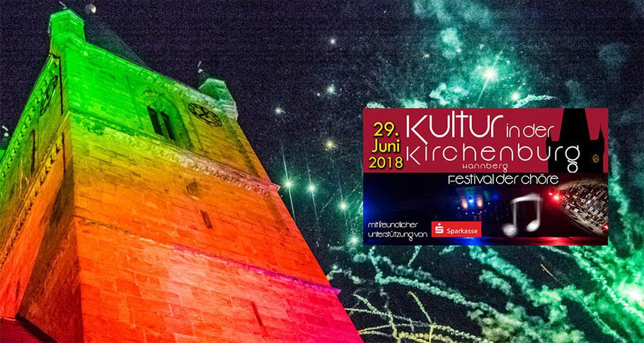 Die drittgrößte Kirchenburg Deutschlands illuminiert: Feuerwerk bei Kultur in der Kirchenburg 2018 in Hannberg