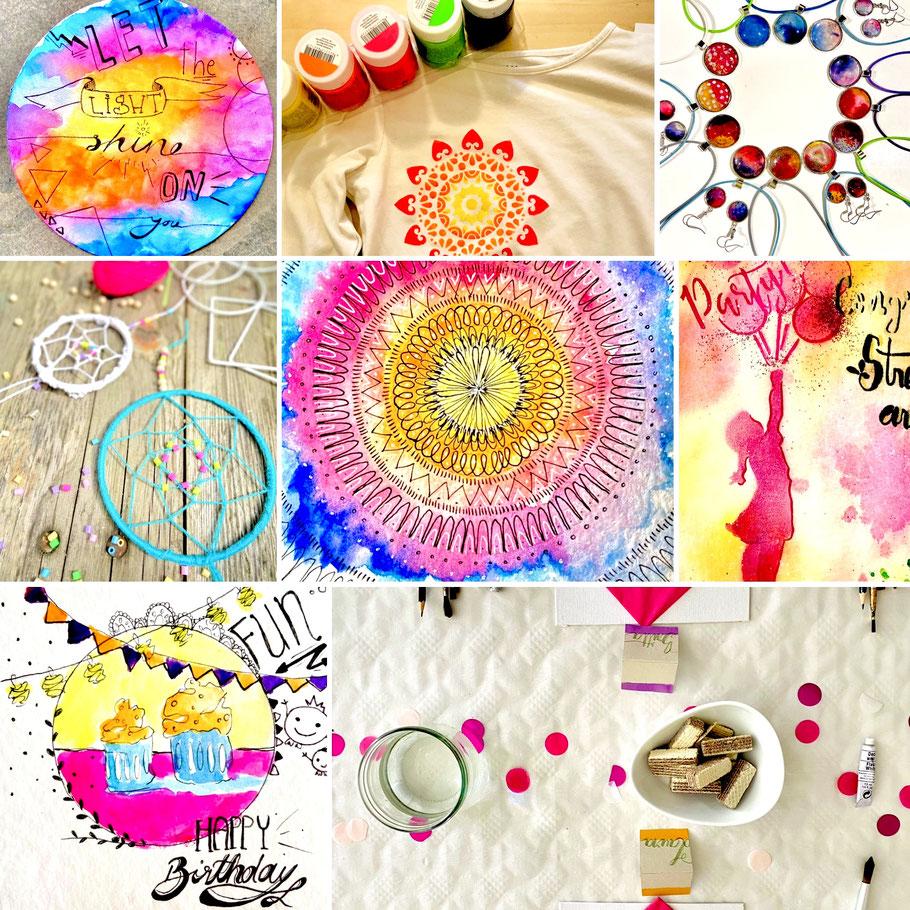 Hier sehen wir eine bunte Auswahl an Images von Traumfängern, Stencils, Street art, Handlettering, Gedeckter Geburtstagstisch, Magic Mandala, Schmuckdesign, Halsketten und Ohrringe, Stoffmalfarben