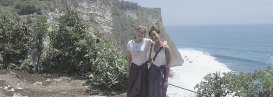 Lara with her friend on Bali, Indonesia