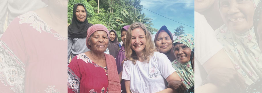 Corinna with a crowd of local women in Indonesia