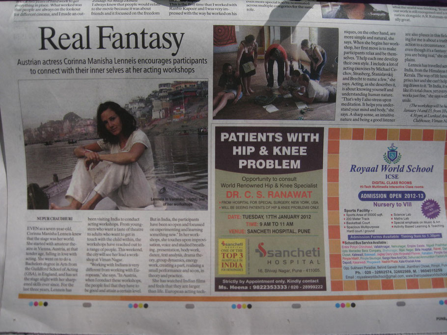 A newspaper clipping in the Indian Express about a workshop in Puna
