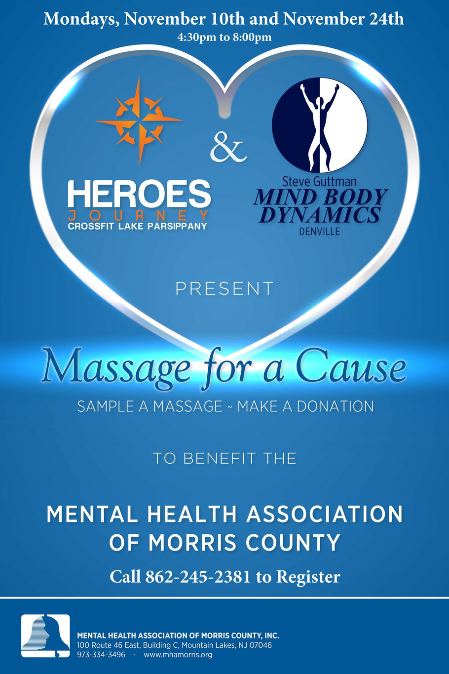 Massage for a Cause to benefit the Mental Health Association of Morris County