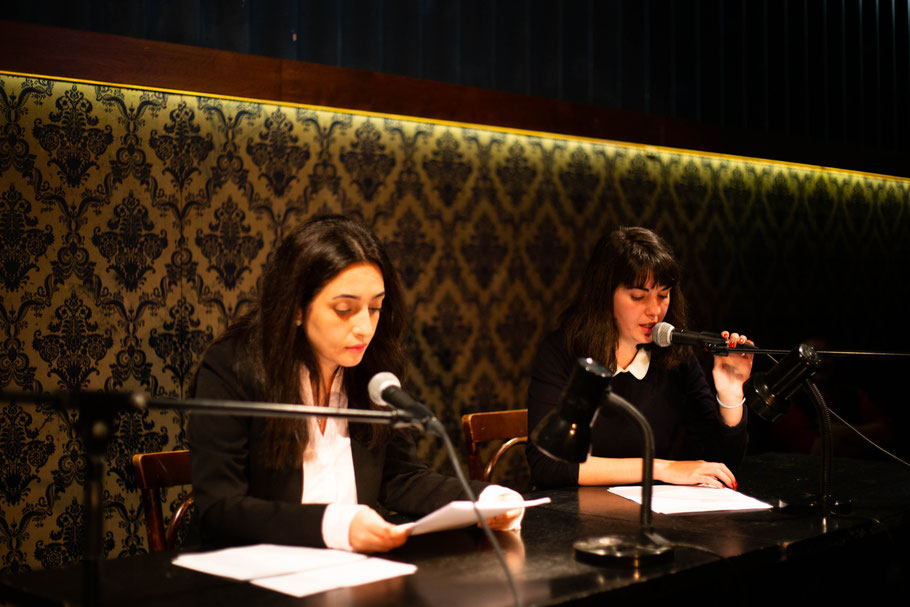 Pegah Ahmadi and Nefeli Kavouras reading Pegah's work and the translation