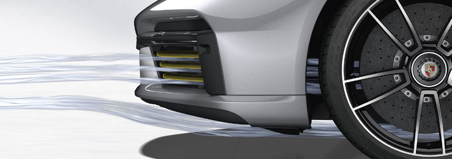 MAG Lifestyle Magazin Auto Motor Sport neu Porsche 911 Turbo S Aerodynamik Kühlluftklappen Bugspoiler Heckflügel Wet Mode Airbrake